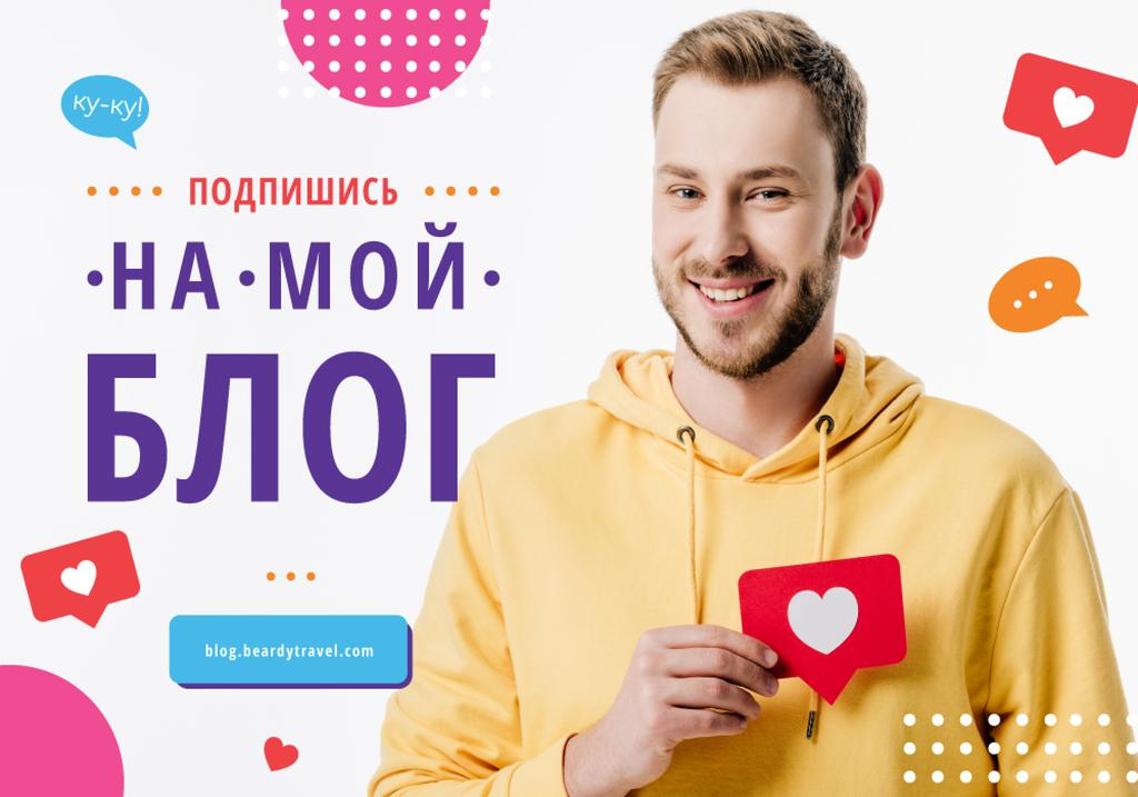 Blog Advertisement with Man Holding Heart Icon — ein Design erstellen
