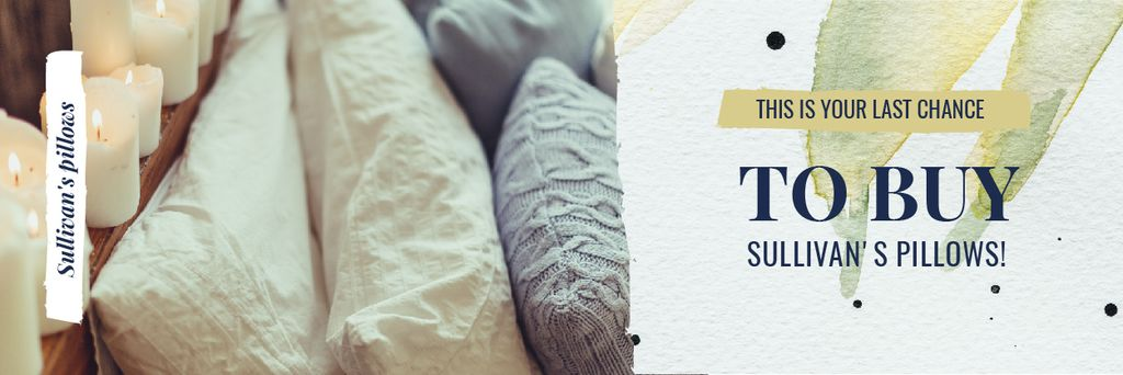 Textiles Offer with Cozy Bedroom Pillows Email header Modelo de Design