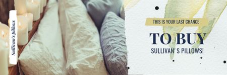 Plantilla de diseño de Textiles Offer with Cozy Bedroom Pillows Email header