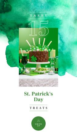 Ontwerpsjabloon van Instagram Story van Saint Patrick's Day cake