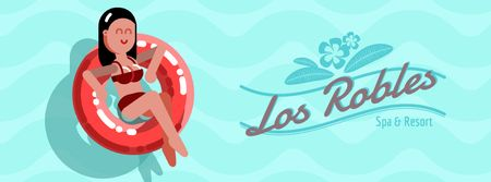 Vacation Theme with Woman in Lifesaver Facebook Video cover Modelo de Design