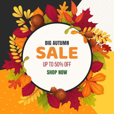 Plantilla de diseño de Sale Offer in Autumn leaves frame Animated Post