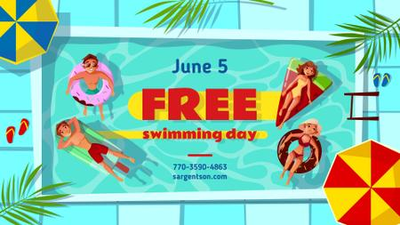Free Swimming Day People in Pool FB event cover Modelo de Design