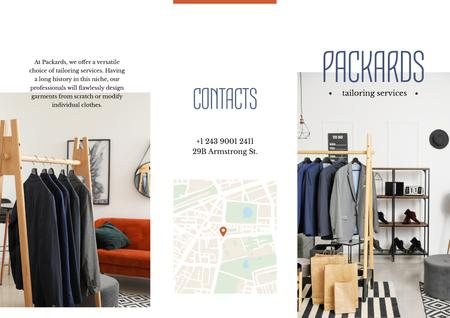 Tailoring Services Offer with Clothes on hangers Brochure Modelo de Design