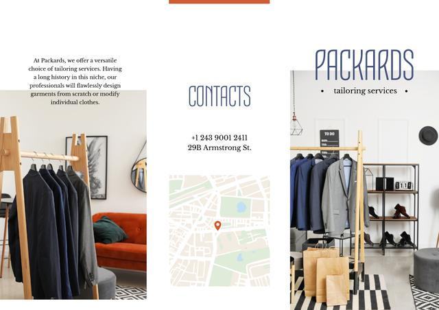 Tailoring Services Offer with Clothes on hangers Brochure Tasarım Şablonu