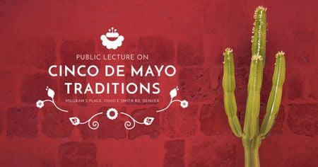 Ontwerpsjabloon van Facebook AD van Public lecture on Cinco de Mayo traditions