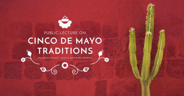 Plantilla de diseño de Public lecture on Cinco de Mayo traditions Facebook AD