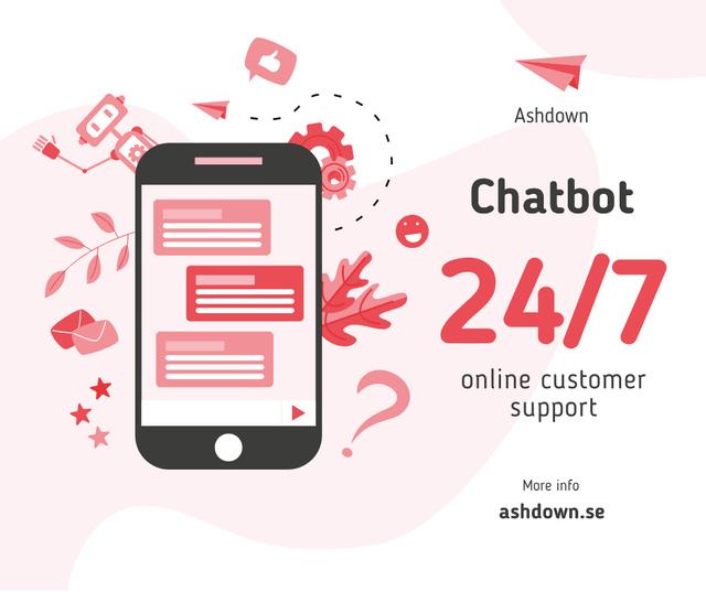 Online Customers Support Chat on Phone Screen Facebook Modelo de Design