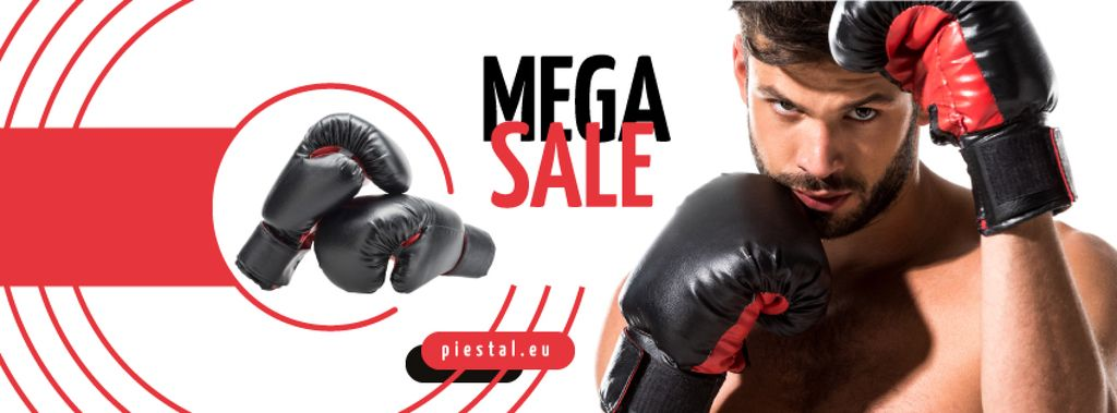 Sport Equipment Sale Man in Boxing Gloves —デザインを作成する
