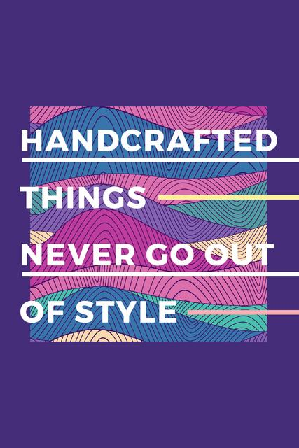 Handcrafted things Quote on Waves in purple Tumblr – шаблон для дизайна