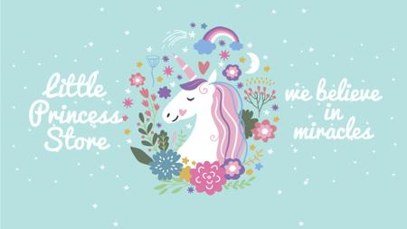 Unicorn in flowers frame Full HD video Modelo de Design