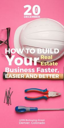 Building Business with Construction Tools on Pink Graphic – шаблон для дизайна