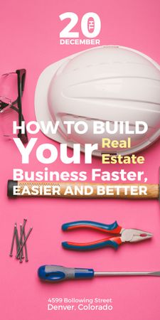 Building Business with Construction Tools on Pink Graphic Modelo de Design