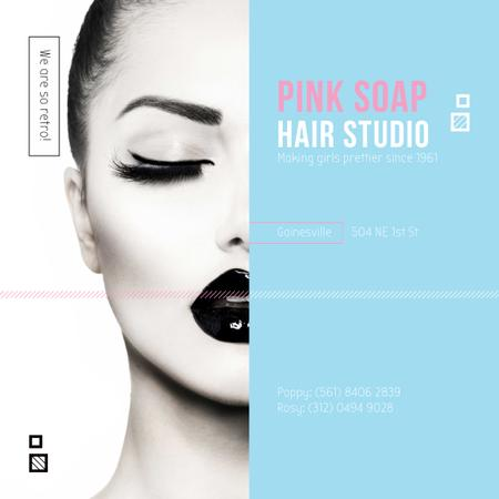 Template di design Hair Studio Ad Woman with creative makeup Instagram AD