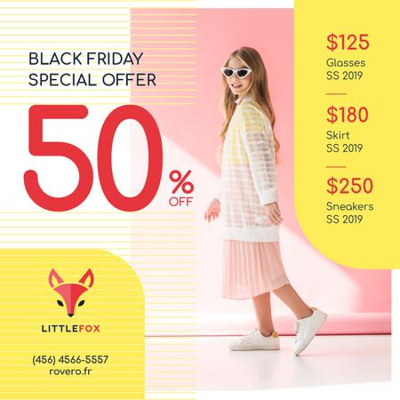 Black Friday Sale Girl in Stylish Clothes Instagram Tasarım Şablonu