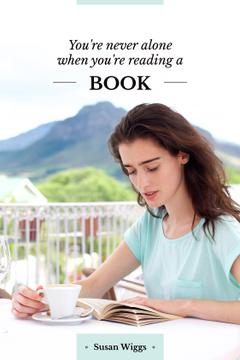 young woman reading book with quote