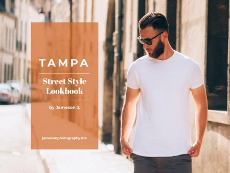 Ontwerpsjabloon van Presentation van Street style lookbook with Stylish Man