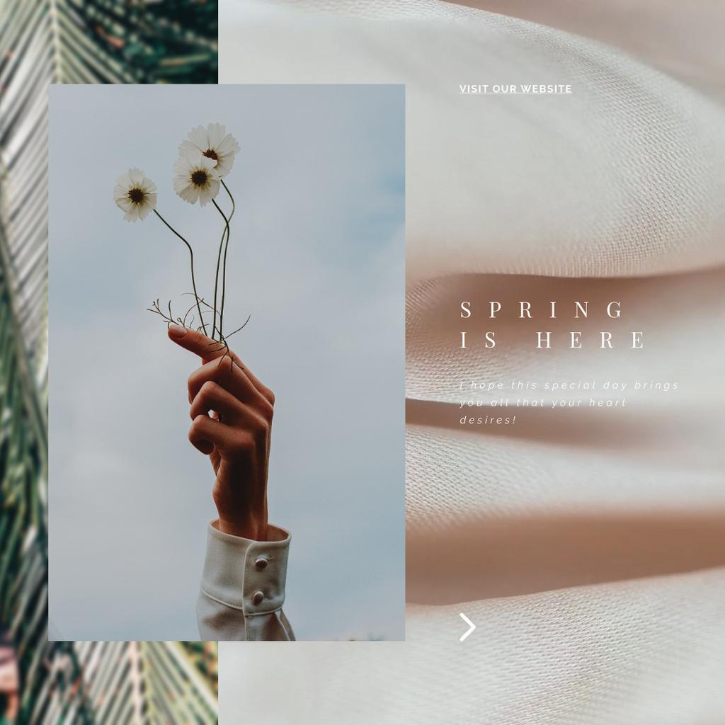 Female hand holding flowers — Créer un visuel