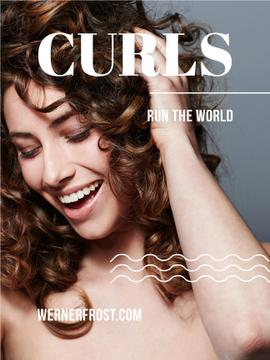 young woman with curls run the world text