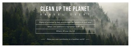 Template di design Ecological Event Announcement with Foggy Forest View Facebook cover