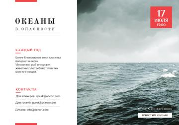 Ecology Conference Invitation with Stormy Sea Waves