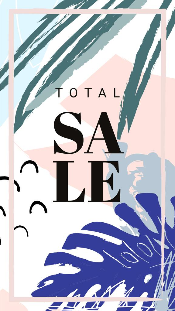 Sale Announcement Frame Leaves in Tropical Forest | Stories Template — Modelo de projeto