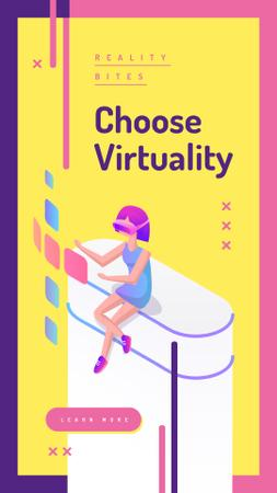 Woman using vr glasses Instagram Story Modelo de Design
