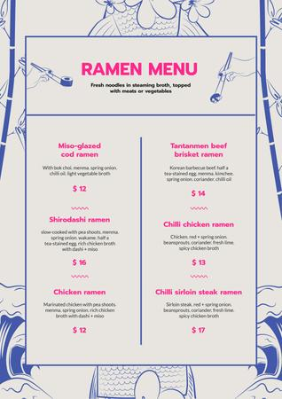 Ramen restaurant noodles Menu Design Template