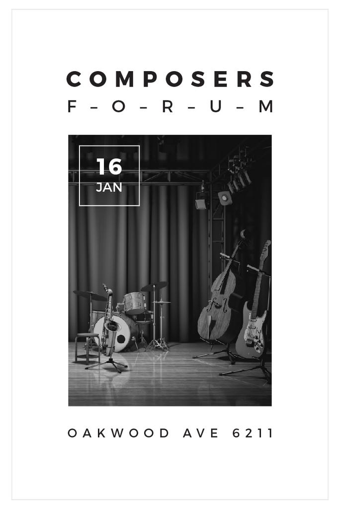 Composers Forum Invitation with Instruments on Stage — Crea un design