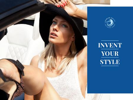 Template di design Attractive Woman in Stylish Hat Presentation