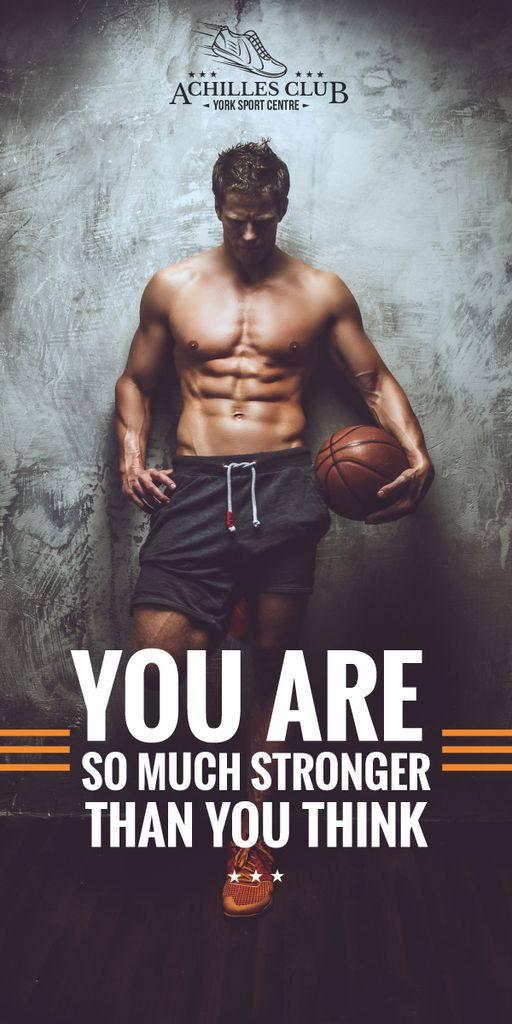 Sport center poster with basketball player  — Create a Design