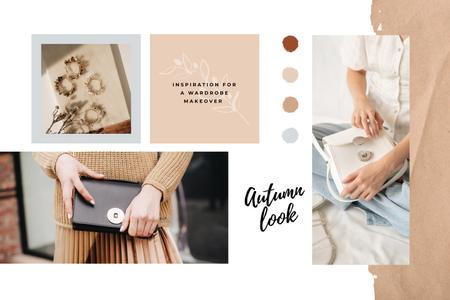 Woman holding stylish Bag Mood Board Design Template