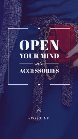 Accessories Quote Stylish Woman in Blue Instagram Story – шаблон для дизайну