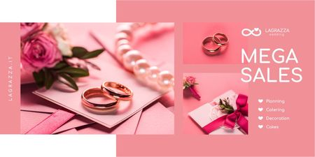 Ontwerpsjabloon van Twitter van Wedding Store Promotion with Rings and Envelope in Pink