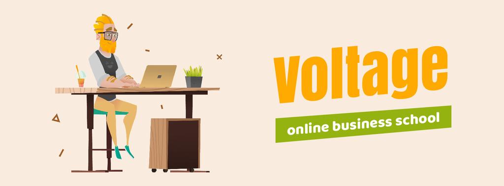 Hipster man working on laptop — Створити дизайн