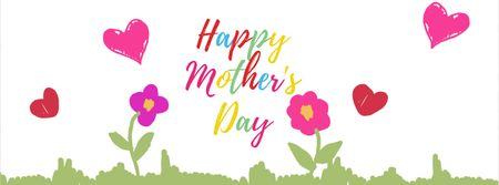 Blooming flowers with hearts on Mother's Day Facebook Video cover Tasarım Şablonu
