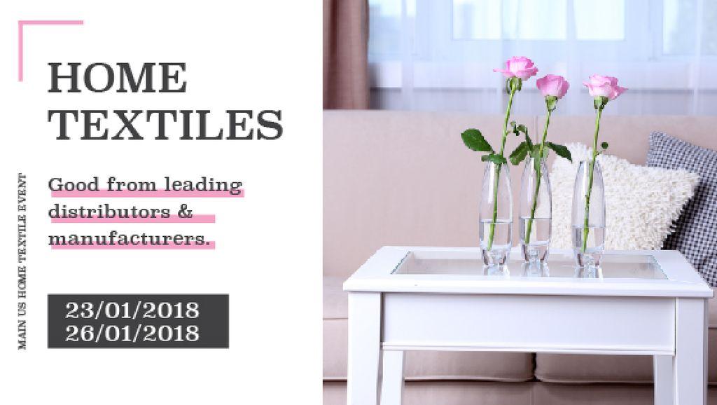 Home textiles event announcement roses in Interior — Crear un diseño