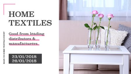 Home textiles event announcement roses in Interior Title – шаблон для дизайна