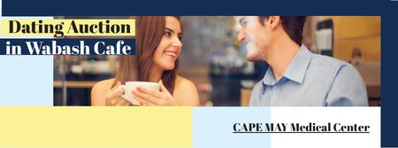 Ontwerpsjabloon van Facebook cover van Dating Auction in Cafe