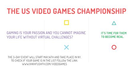 Plantilla de diseño de Video games Championship Announcement Facebook AD
