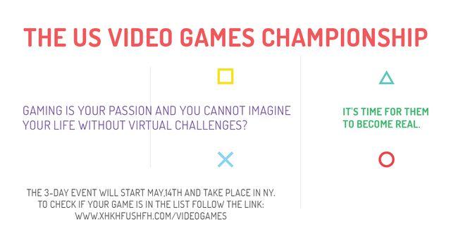 Video games Championship Announcement Facebook AD Modelo de Design