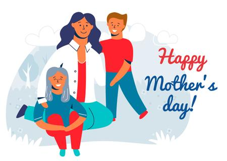 Plantilla de diseño de Happy mother with kids on Mother's Day Card