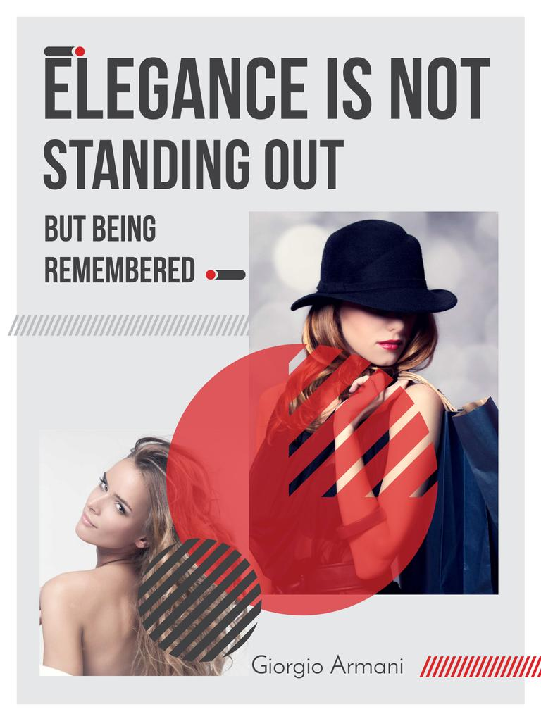 Shopping Quote Stylish Woman in Hat Poster US – шаблон для дизайна