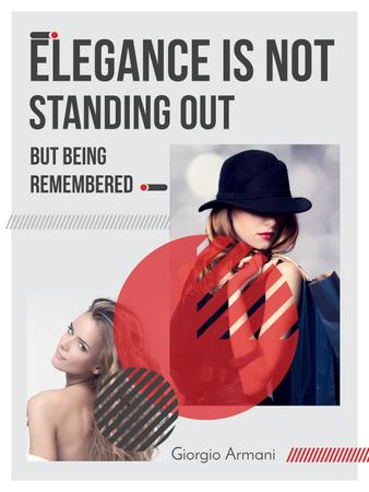 Ontwerpsjabloon van Poster US van Shopping Quote Stylish Woman in Hat