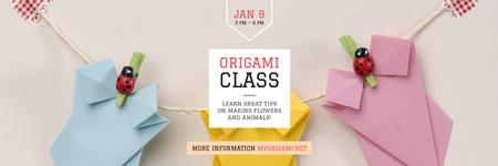 Origami Classes Invitation Paper Garland Twitter – шаблон для дизайну