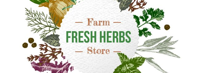 Plantilla de diseño de Farm Natural Herbs Frame Facebook cover