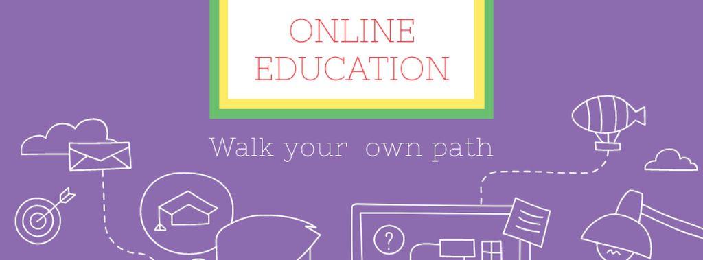 Online Education ad Man by Computer — Crea un design