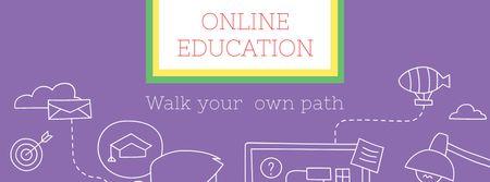 Modèle de visuel Online Education ad Man by Computer - Facebook cover