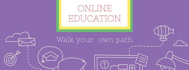 Online Education ad Man by Computer Facebook cover Modelo de Design