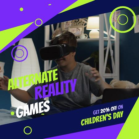 Children's day with Boy using VR glasses Animated Post Modelo de Design